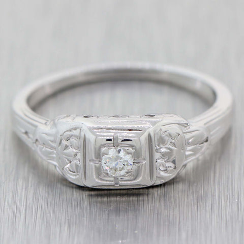 1930s Antique Art Deco 18k White Gold .10ctw Solitaire Diamond Cocktail Ring