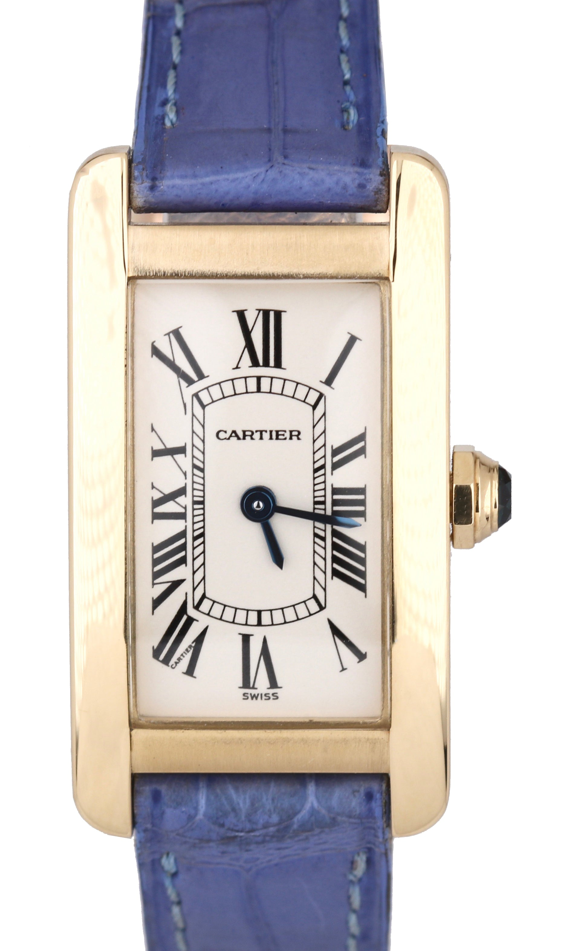 Cartier Tank Americaine 18k Yellow Gold 18x28mm Ivory Quartz Date Watch 1710