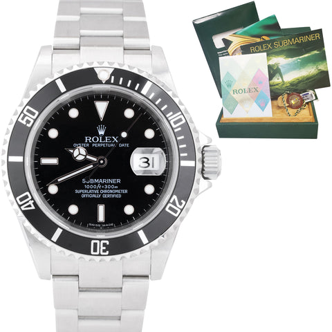 2007 MINT BOX PAPERS Rolex Submariner Date NO-HOLES Pre-Ceramic Watch 16610 T