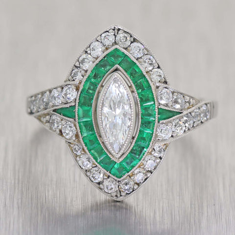 1930s Art Deco Platinum 1.40ctw Marquise Emerald Diamond Halo Engagement Ring