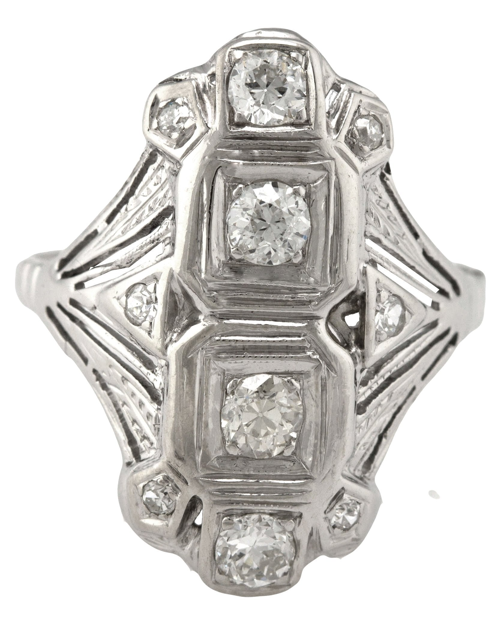 Ladies Antique Art Deco 14K White Gold 0.72ctw Diamond Cocktail Ring