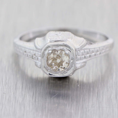 1930s Antique Art Deco 14k White Gold Filigree .20ctw Solitaire Diamond Ring