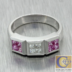 Vintage Estate EFFY 14k White Gold 0.60ctw Pink Sapphire Diamond Band Ring