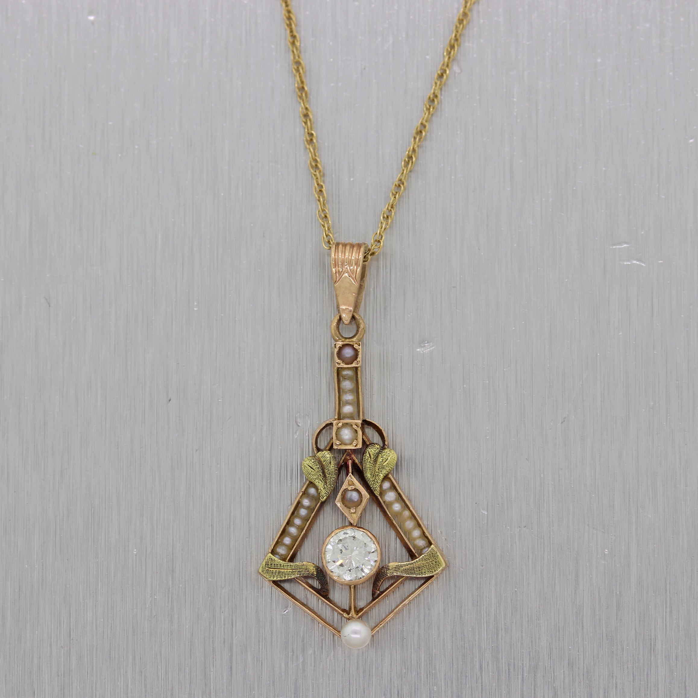 "1890s Antique Victorian 14k Yellow Gold 0.33ct Diamond & Seed Pearl 16"" Necklace"