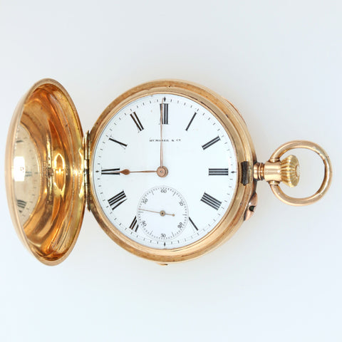 Antique H. Moser & Cie Solid 14k Yellow Gold White Roman Hunter Pocket Watch