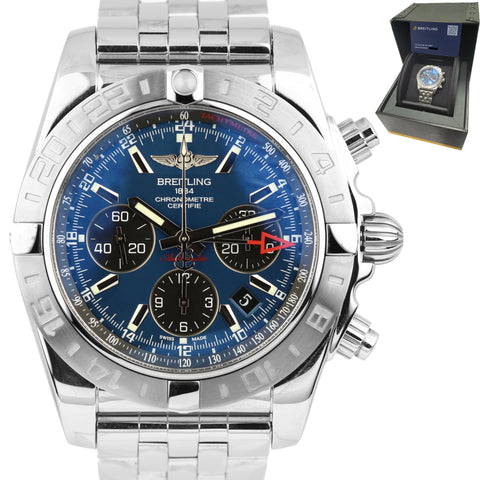 2012 MINT Breitling Chronomat GMT Chronograph Blue 44mm Stainless Watch AB0420