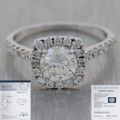 Round 1.15ct I SI2 EGL 14k White Gold Halo 1.65ctw Diamond Halo Engagement Ring