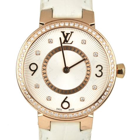 Louis Vuitton Tambour Monogram Diamond 28mm Q12MR 18K Rose Gold Leather Watch