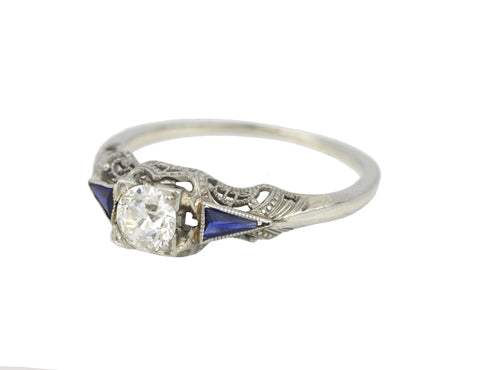 Art Deco 14K White Gold 0.33CT Solitaire Diamond Sapphire Engagement Ring