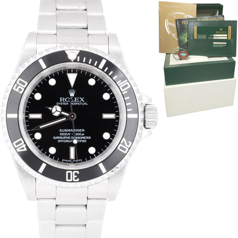 RARE 2010 UNPOLISHED Rolex Submariner No-Date ENGRAVED REHAUT 14060M Watch B+P