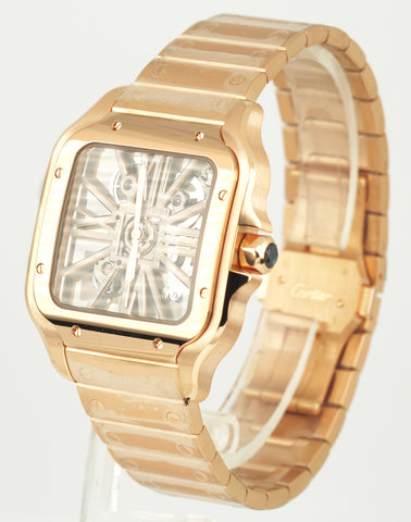 NEW 2021 Cartier Santos WHSA0016 4110 39.8mm Auto 18K Rose Gold Skeleton Watch