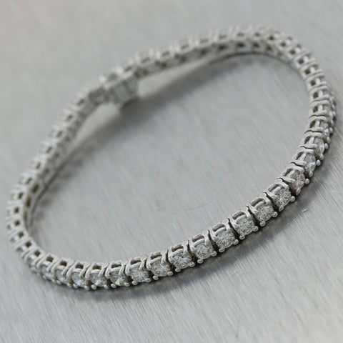 Modern 14k White Gold 5.98ctw Diamond Tennis Bracelet