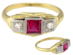 Ladies Vintage Estate 14K Yellow White Gold 0.06ctw Synthetic Ruby Diamond Ring