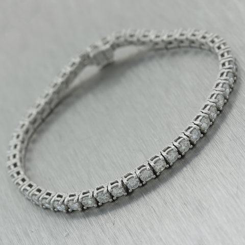 Modern 14k White Gold 6.90ctw Diamond Tennis Bracelet