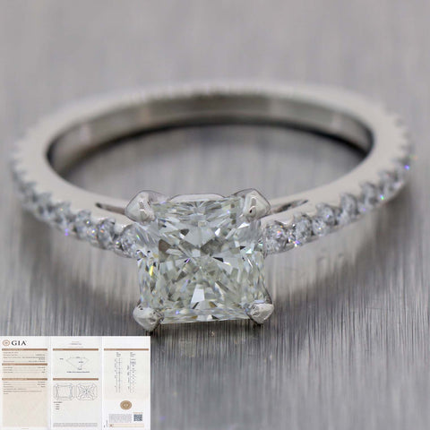 Radiant Cut 1.52ct H VS2 GIA Platinum Halo 2.00ctw Diamond Engagement Ring