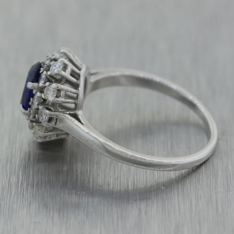 1960's Vintage Estate 14k White Gold 1.45ctw Diamond & Sapphire Ring
