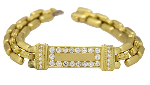 Customized Judith Ripka 18K Gold After Market Diamond Encrusted ID Bracelet