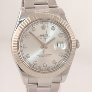 2016 Rolex Datejust 2 41MM Silver Diamond 116334 18K White Gold Fluted Watch