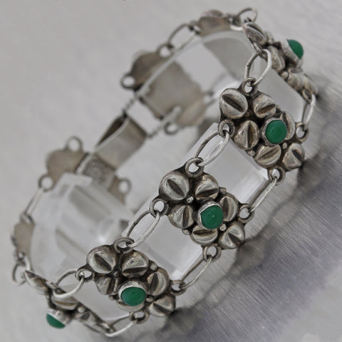 1930's Antique Vintage Estate Seterling Silver Mexico Taxco Green Onyx Bracelet