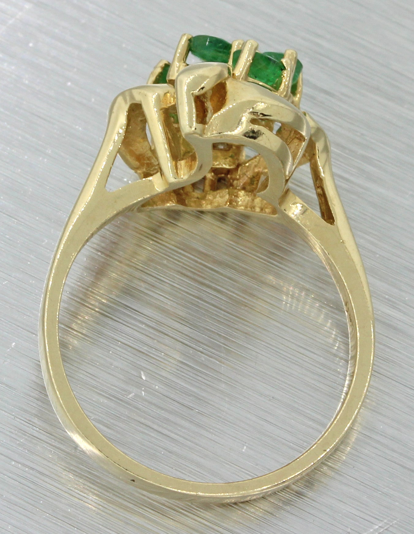 Vintage Estate 14k Yellow Gold .50ct Emerald .08ct Diamond Cocktail Ring