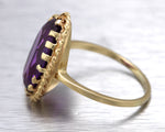Ladies Vintage Estate 14K Yellow Gold 18x13mm Amethyst Gemstone Cocktail Ring