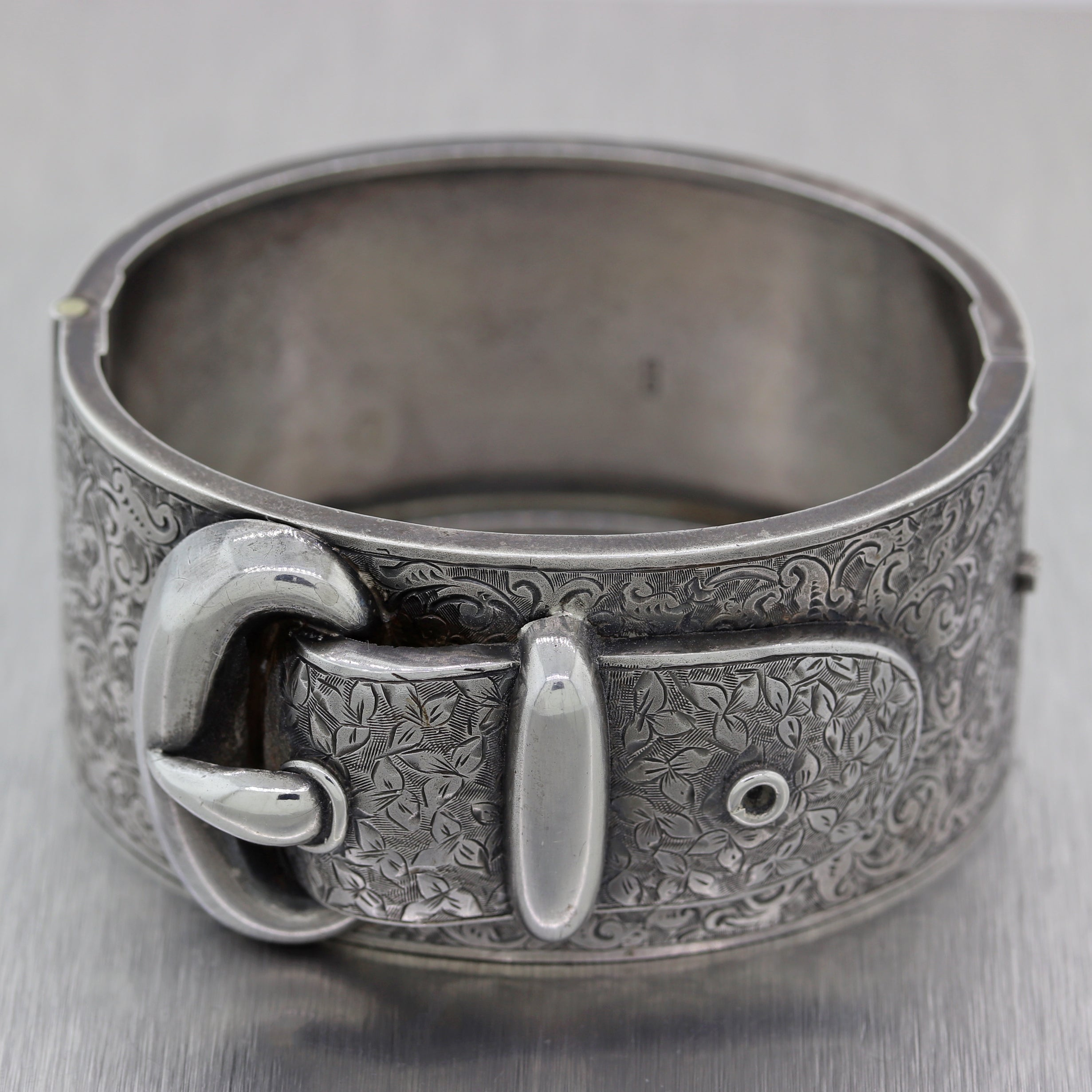 1800's Antique Victorian English Sterling Silver Buckle Bangle Bracelet