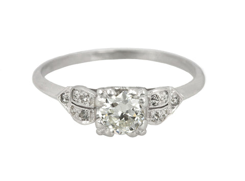 1920's Antique Art Deco Platinum 0.53 CT Transitional Diamond Engagement Ring