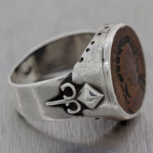 Men's Antique Ancient Roman Sterling Silver Cesar Coin Ring