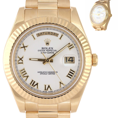 MINT Rolex Day-Date II 41mm White Roman President 218238 18K Gold Watch Box