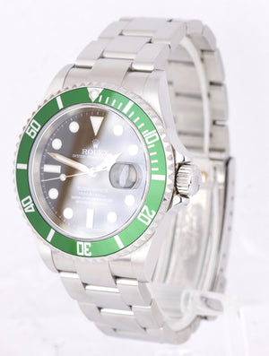 2007 UNPOLISHED Rolex Submariner Kermit GREEN STICKER 50th Anniversary 16610 LV