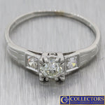 1920s Antique Art Deco Platinum .47ctw Diamond Fishtail Engagement Ring S8