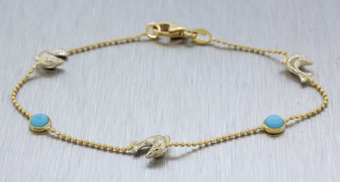 Vintage Estate 18k Solid Yellow Gold Dolphin and Turquoise Charm Bracelet