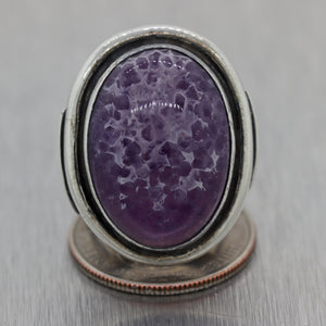 1960's Mid Century Modern Vintage Sterling Silver Amethyst Ring