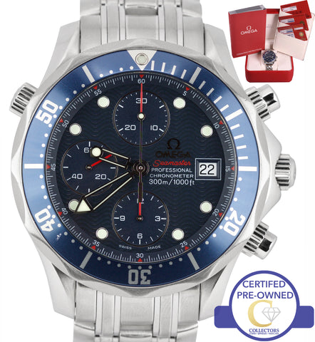 Omega Seamaster 300M 2225.80.00 Blue 41.5mm Automatic Chronograph Date Watch