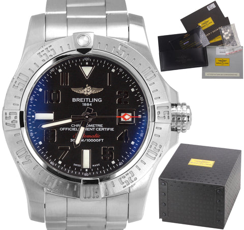 2014 Breitling Avenger Seawolf Automatic Black 45mm Stainless A17331 Date Watch