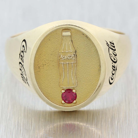 Rare Vintage Estate Solid 10k Yellow Gold Coca Cola .25ct Ruby Signet Band Ring
