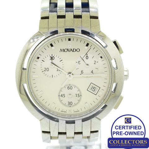 Movado Stainless Steel 84 C5 1895 White Dial Swiss Dive 38mm Watch