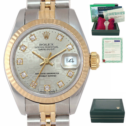PAPERS Diamond Jubilee Ladies Rolex 67193 Two Tone 18k Gold 26mm Watch