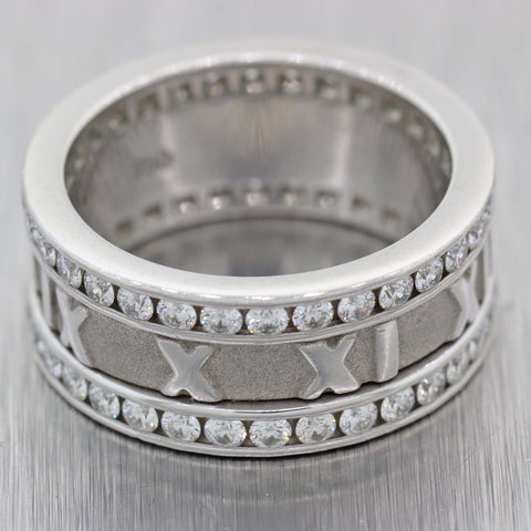 Tiffany & Co. Atlas 18k White Gold 8mm Wide 1.32ctw Diamond Eternity Band Ring