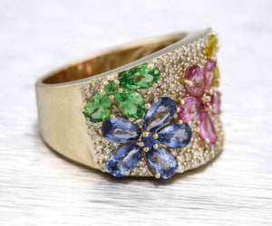 EFFY Watercolors 14K Yellow Gold 5.31ctw Multi-Sapphire Diamond Floral Ring