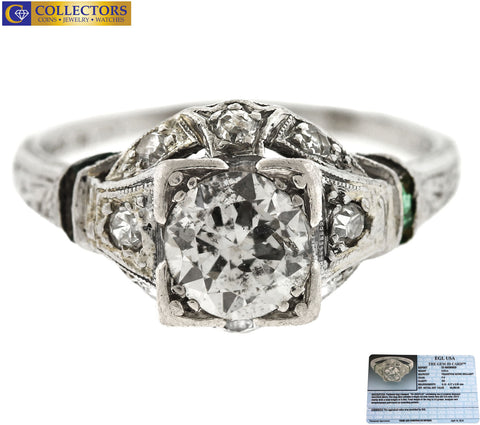 Ladies Antique Art Deco Platinum 0.99ctw Diamond Filigree Engagement Ring EGL