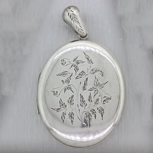 1880's Antique Victorian Sterling Silver Etched Locket