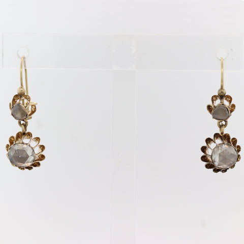 1870s Antique Victorian 14k Yellow Gold Rose Cut Diamond Hanging Earrings C8