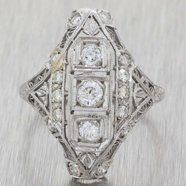 1920s Antique Art Deco Estate Platinum .50ctw Diamond Cocktail Ring A8
