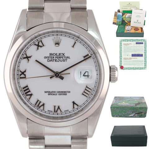 MINT PAPERS Rolex DateJust 36mm 16200 Steel White Roman Oyster Watch Box