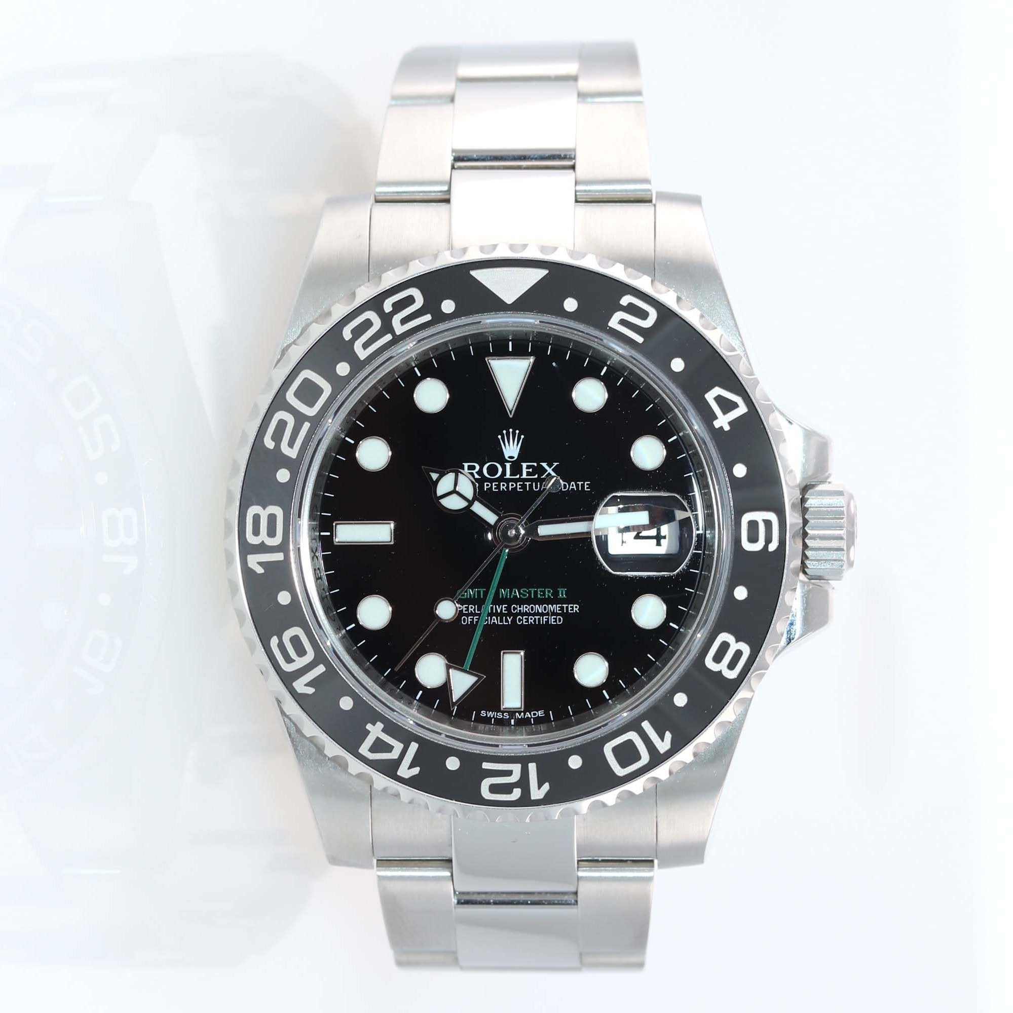 2013 PAPERS Rolex GMT Master 116710 LN Steel Ceramic 40mm Black Date Watch