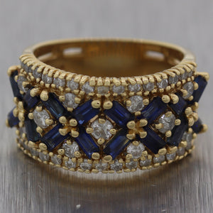 EFFY 14k Yellow Gold 2ctw Sapphire & Diamond Wide Wedding Band Ring