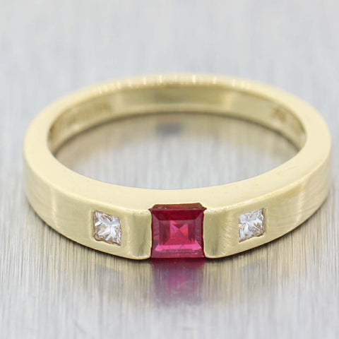 Tiffany & Co. 18k Yellow Gold .25ctw Princess Baguette Ruby Diamond 3mm Band Ring