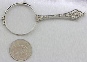 1920s Antique Art Deco Solid Platinum .25ctw Diamond Expandable Eye Glasses