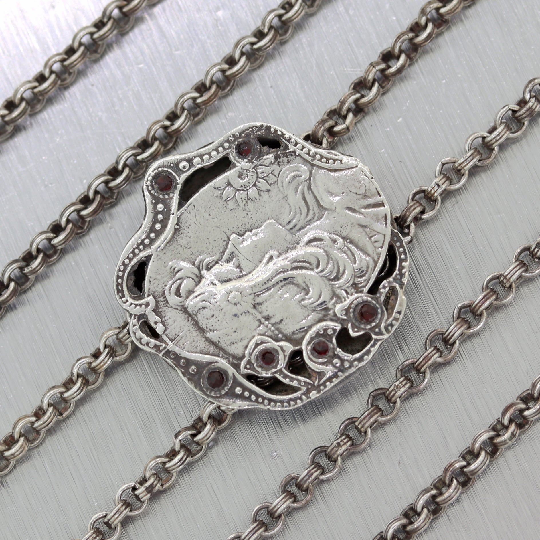 "1910's Antique Art Nouveau Sterling Silver Slide 60"" Chain Necklace"